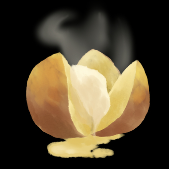 Potato with butter background