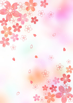 Cherry blossoms _ pale background _ vertical type 1826