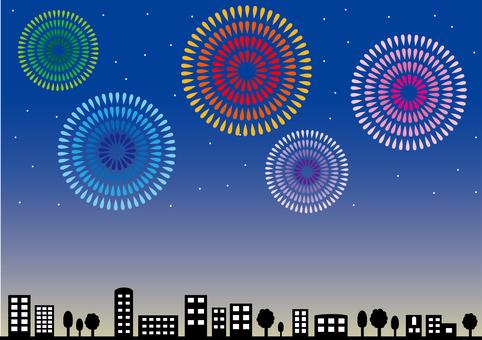壁紙 - 在夜空和城市地區的煙花