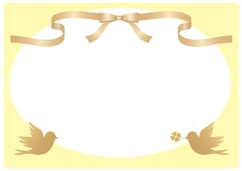 Ribbon and bird frame (yellow)