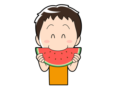 Summer _ boy eating watermelon _ 002