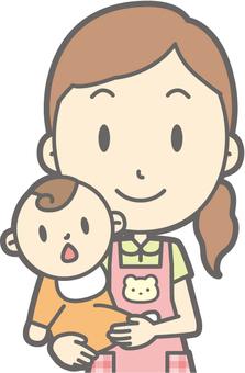 Nursery teacher woman - hug - bust