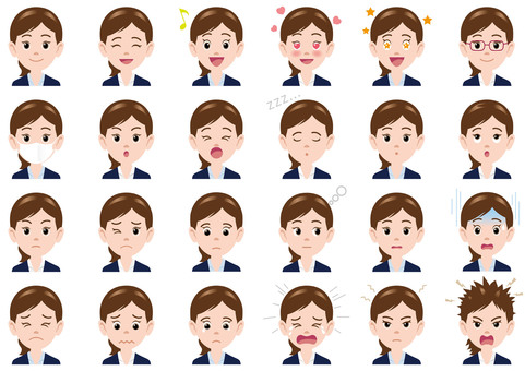 Business Woman Facial Expression Illustration Set
