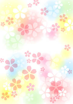 Cherry blossoms and colorful background