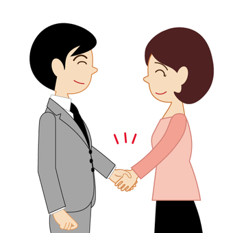 Male and female handshaking hands