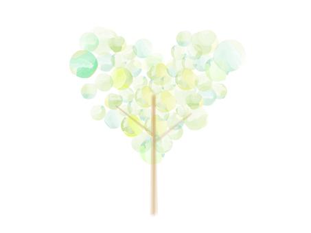 Water polka heart tree _ watercolor breeze