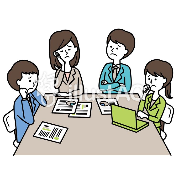 イラスト素材 : 活気のないミーティング