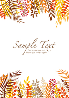 Watercolor style autumn leaf frame