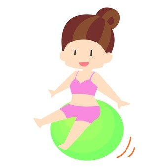 Diet - a woman riding a balance ball