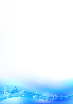 Blue wave note background material vertical frame