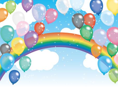 空と風船と虹