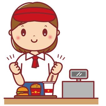 Hamburger shop female shop assistant guts