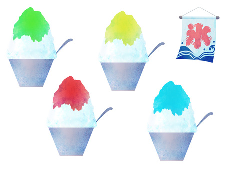 Illustration set of shaved ice