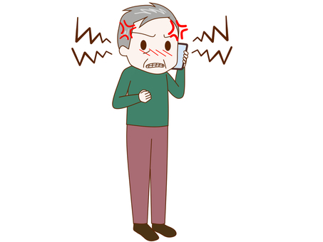 An old man talking while being frustrated with a smartphone