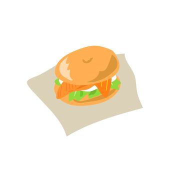 Salmon and cream cheese bagel sandwich