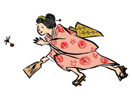 羽子板で遊ぶ女性 右利き