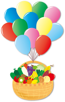 Vegetable fruit basket with balloon