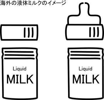 Hand drawn rough-image of overseas liquid milk
