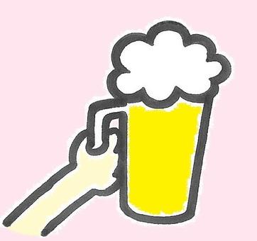 歡呼與啤酒顏色的歡呼聲