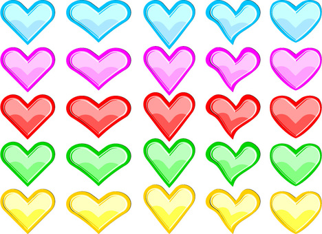 Colorful heart 25 patterns