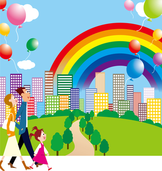 Park Town Rainbow green family