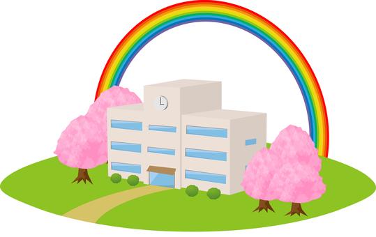 Sakura and rainbow and school building: RGB