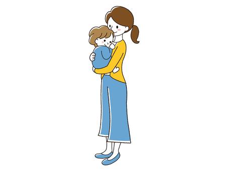 嬰兒擁抱母親