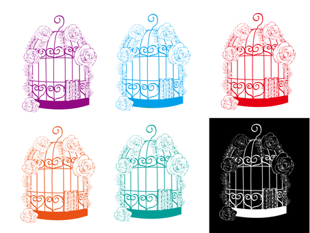 Fancy bird cage Various 2 with rose