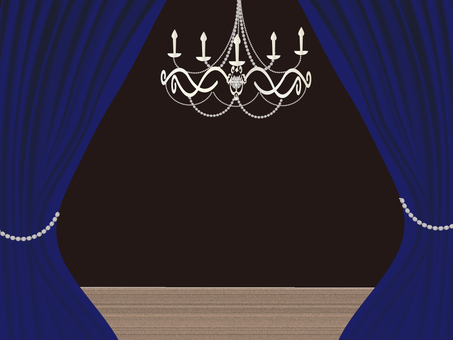 Blue curtain and chandelier stage