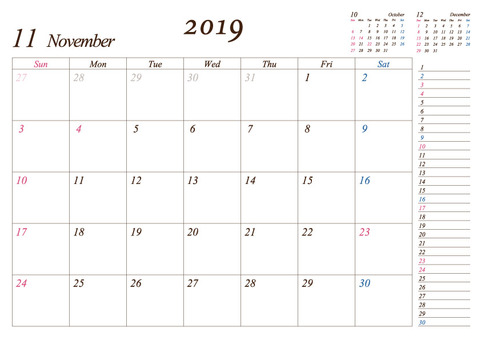 2019 monthly A4 calendar 11 modified version