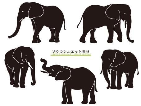 大象剪影素材(黑色)