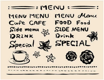 Cafe menu (brush character)