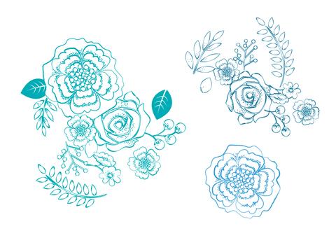 푸른 꽃의 그린 풍 일러스트