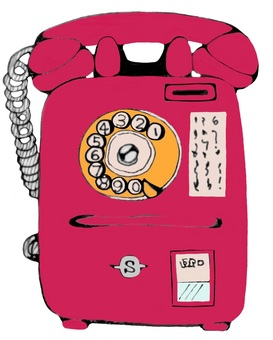 Red public phone