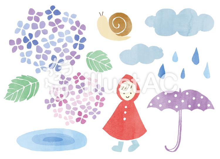 梅雨のパーツ水彩イラスト No 757772無料イラストならイラストac