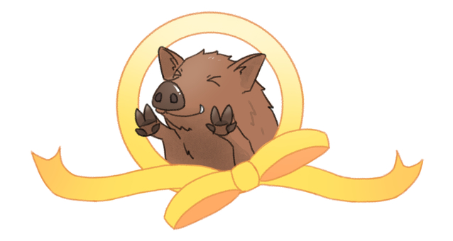 A boar that takes a face out of a ribbon ring