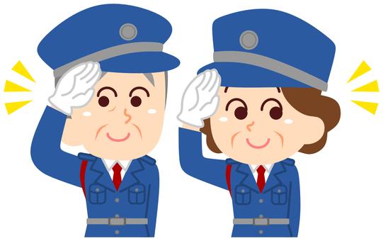 Security guard senior man and woman