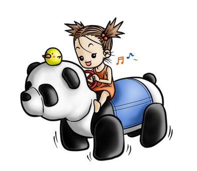 パンダの乗り物に乗る女の子