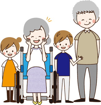 Elder couple and grandchildren wheelchair _NA 05