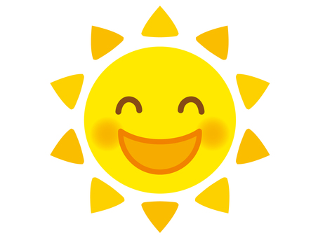 Illustration of the smiling sun 3 (yellow)