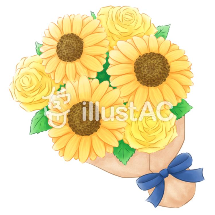 ヒマワリとバラの花束のイラスト