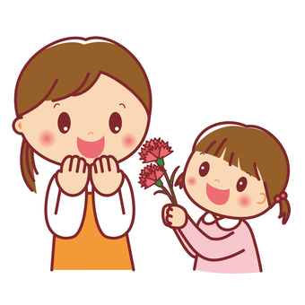A girl giving a carnation