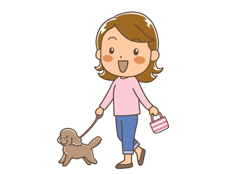 A woman walking with a pet