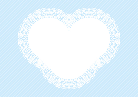 Heart shaped lace frame blue background