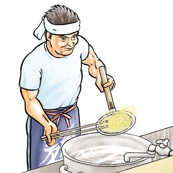 Ramen shop owner, making noodles prospective