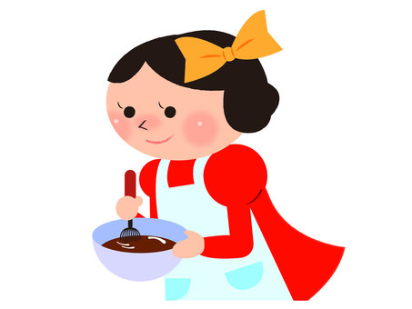 Girl making chocolate