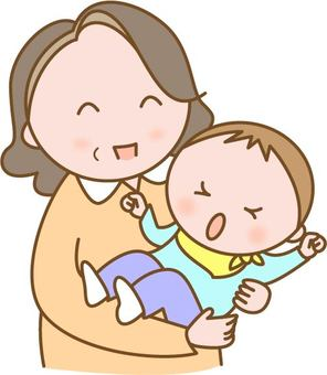 Grandma holding her grandchild