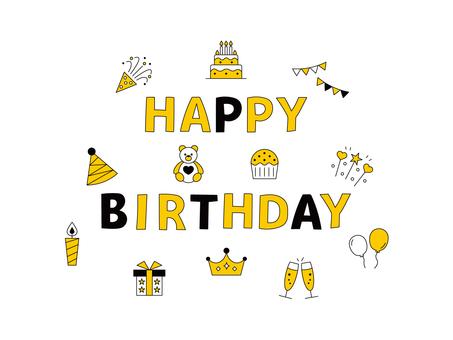 生日字符圖標黃色黑色