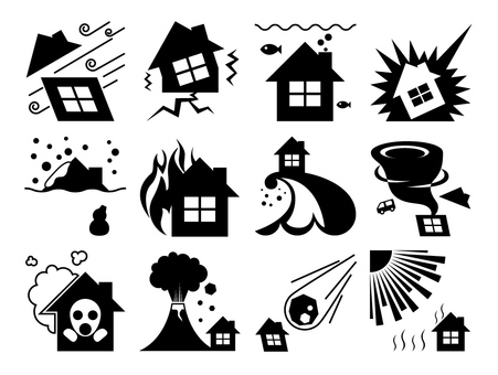 Disaster prevention icon black