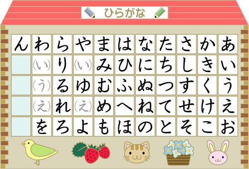 Hiragana table A4 (color)
